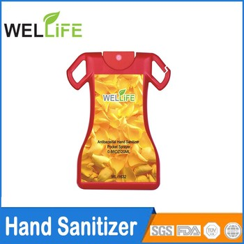 China factory 10ml 15ml 20ml T shirt shape waterless credit card pocket hand sanitizer
