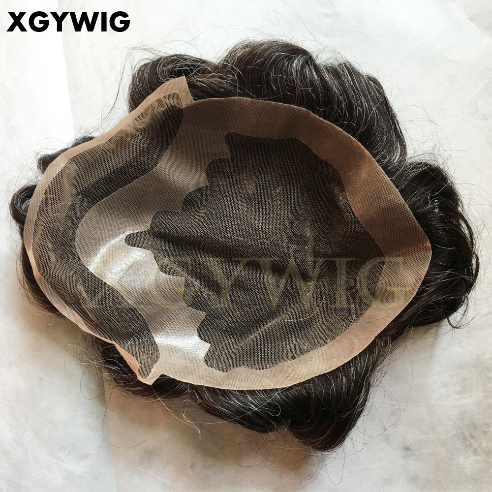 Custom order factory price cheap 100% Indian virgin Remy Human Hair Grey mix French lace base toupee hairpieces for men