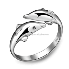New Fashion 925 Sterling Silver Opening Adjustable Double Dolphin Ring