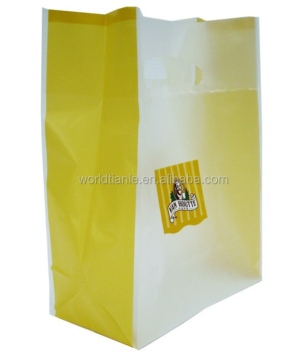Shopping punch die cut handle carrier poly patch bag