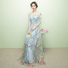 ZH0178X New fashion long Flower Fairy long sleeve lace banquet ladies evening dress