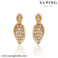91335 fashion luxury earrings leaf shpe 18K gold jewelry inlayed stones earring women earrings
