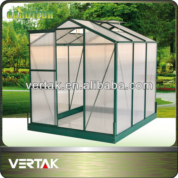 Green framed aluminium walk in greenhouse
