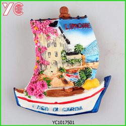 YC1017501 2015 3d boat style high quality resin italy souvenir fridge magnet