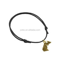 new product stylish diy jewelry magnetic zinc alloy copper charm black wax cord bracelet (B104864)