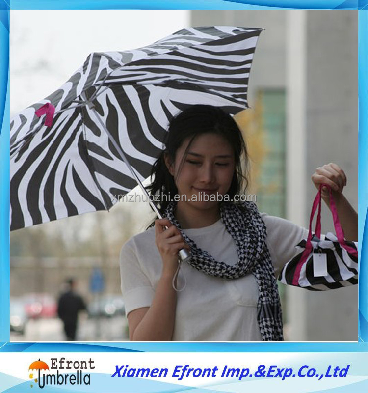 3 folds zebra print girl Jungle series umbrella with shopping bag