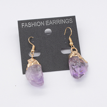 Gold Plated Hook Raw Crystal Druzy Amethyst stone Earrings For Women