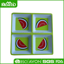 Custom snacks serving watermelon print square melamine divided plate