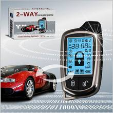 Russia version 2 way remote engine starter & car alarm system Function and DC 12V Voltage Car alarm with Wide screen LCD disply