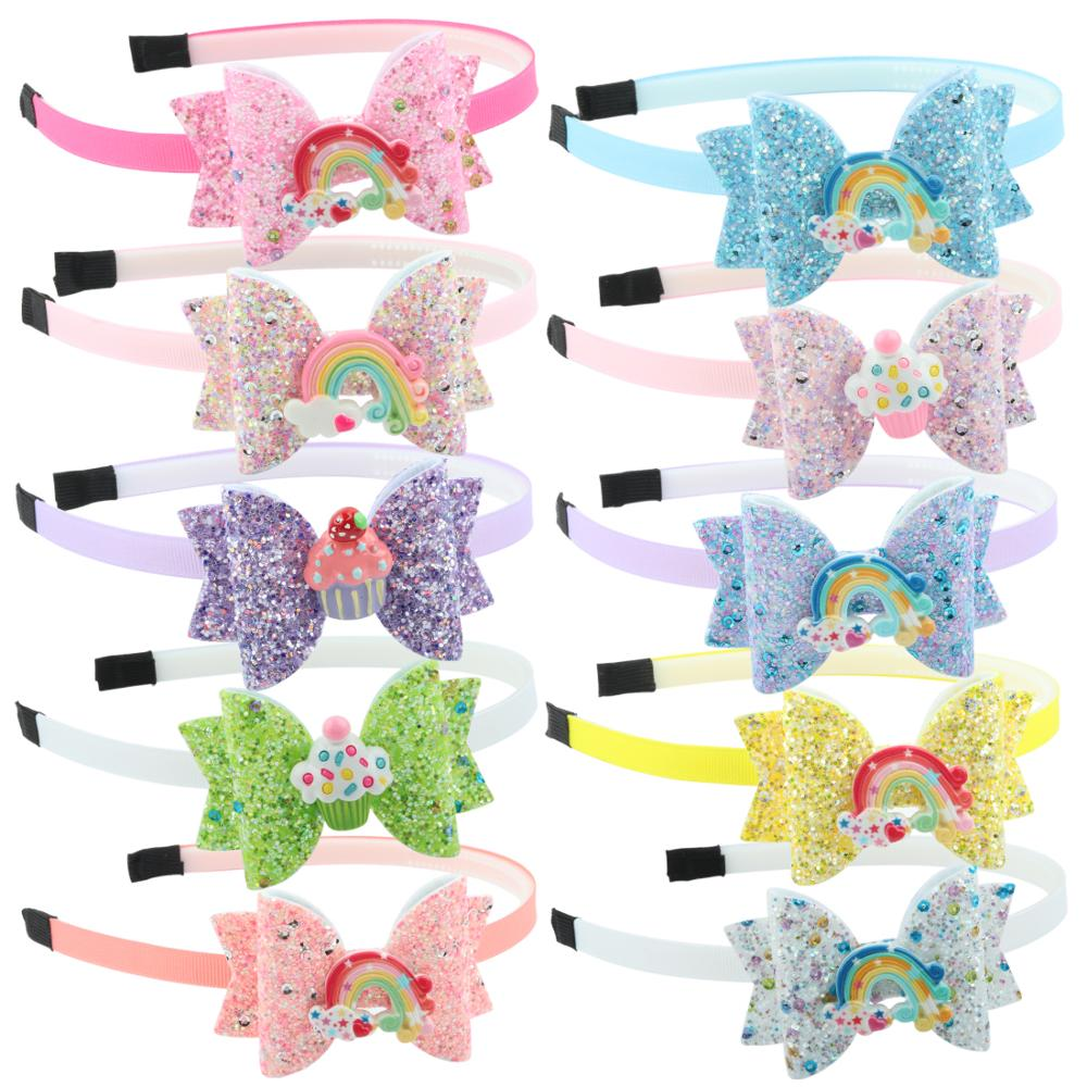 3''Glitter Candy <strong>Hair</strong> Bows Party Headband <strong>Hair</strong> <strong>Accessories</strong> Gift Fashion Girls Hairband for School