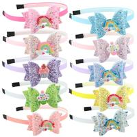 3''Glitter Candy Hair Bows Party Headband Hair Accessories Gift Fashion Girls Hairband for School