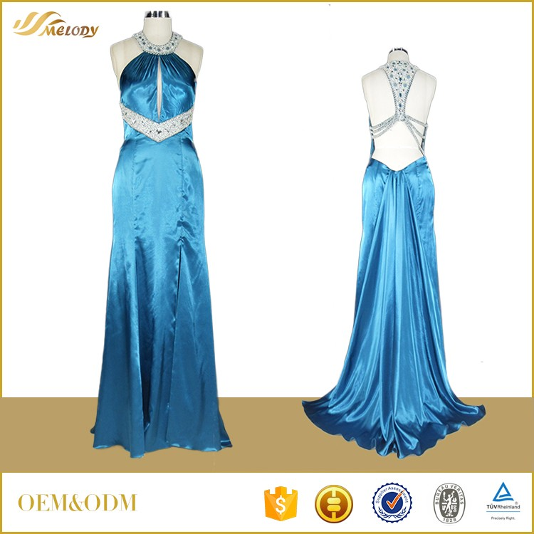 MD365 Sexy blue beeading evening dress fashion mature women evening dresses