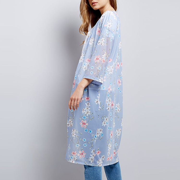 Fashion Design Long Sleeve Digital Floral Print Cover Up Beach Dress