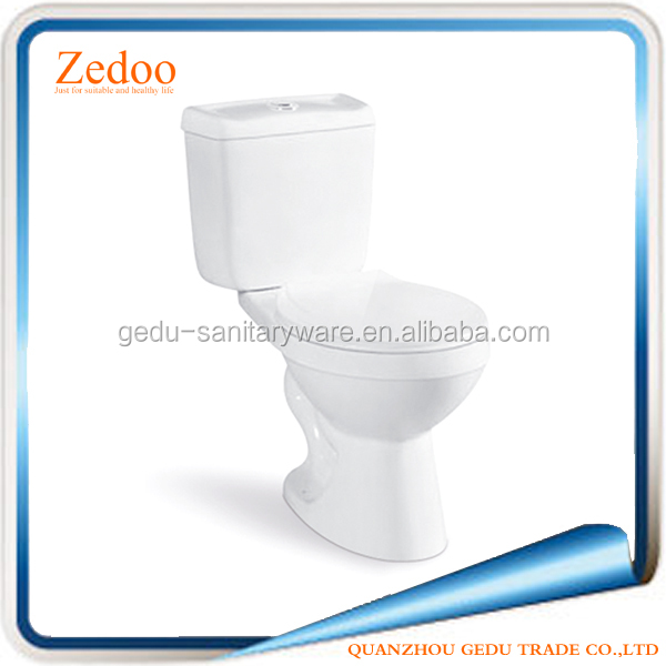ZD-8006 Two pieces toilet wash down flushing wc ceramic toilet