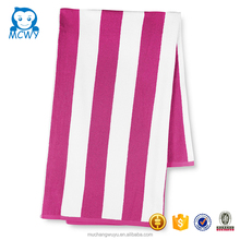 Wholesale custom 100% cotton hot coral white and pink striped bath towels