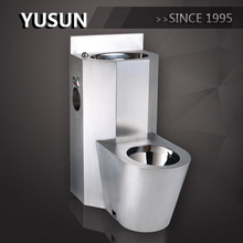 Best selling floor mounted 304 Stainless Steel Combination Prison Jail Toilet with sink