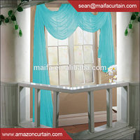 Plain solid sheer voile window curtain design with loops, ready made tab top