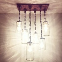 6.27-52 Industrial/Rustic Handmade 6 Mason Jars Chandelier/Hanging Pipe Pendant Light/Kitchen/Bar
