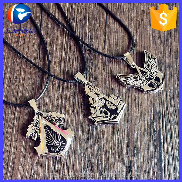 High quality hot game assassins creed origins metal pendant necklace assassins creed necklace for wholesale