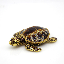 Home decoration carft dispaly animal tortoise metal jewelry trinket box