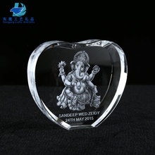 Heart Shape 3D Laser Crystal Ganesha Good Best Personalized Wedding Gifts