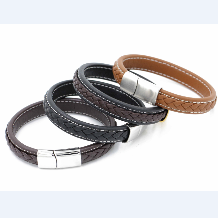 high quality custom stainless steel magnetic clasp bracelet leather bracelets bangles mens <strong>accessories</strong>