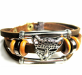 Fashion Leather leopard head bracelet for men