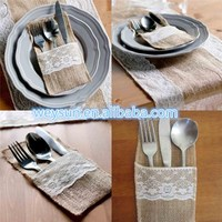 "100pcs Vintage 4""x8"" Hessian Burlap Lace Wedding Tableware Pouch Cutlery Holder Decorations Favor DHL Freeshipping"