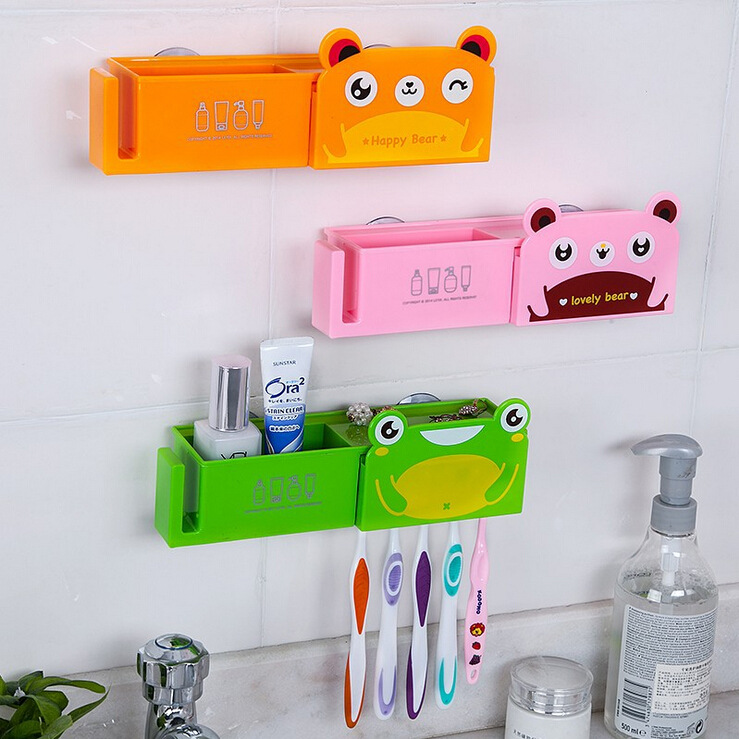 N161 Plastic Cartoon Toothbrush Holder Bathroom Set with Strong ABS Cup