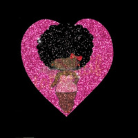 Aprise - Pink Love Heart Black afro girl glitter vinyl transfer for Clothes