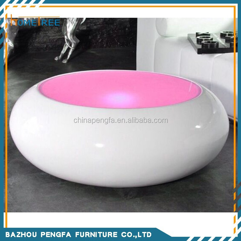 modern remove color LED light up round coffee table with glass top