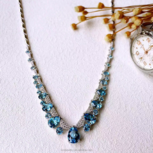 blue topaz 925 silver jewelry necklace