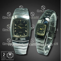(2013 Hot sale classic style stainless steel back case citizen movement quartz couple watch) HLY-6373