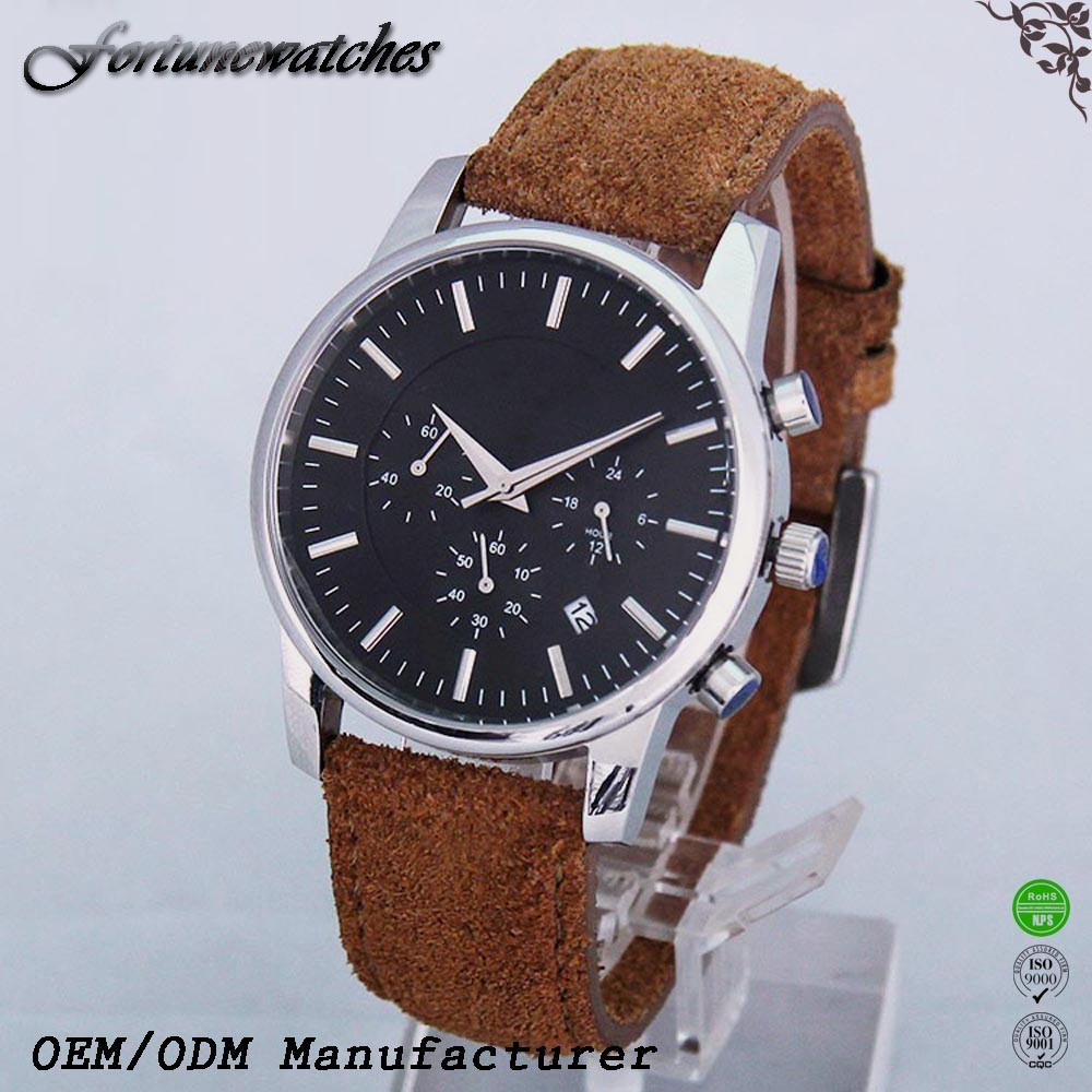 Online shopping real leather Full Calendar men fashion business watch with stainless steel watchcase