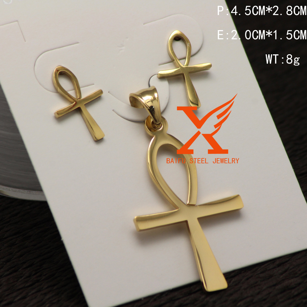 In Stock Wholesale Fashion Stainless Steel Ankh Cross Pendant Earrings Jewelry Sets Egypt Jewelry