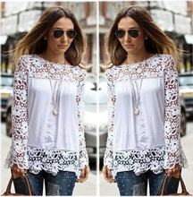 Instyles able white Women's Long Sleeve Lace Crochet Shirt Women Transparent Blouse SV009993 boutique clothing Clothing