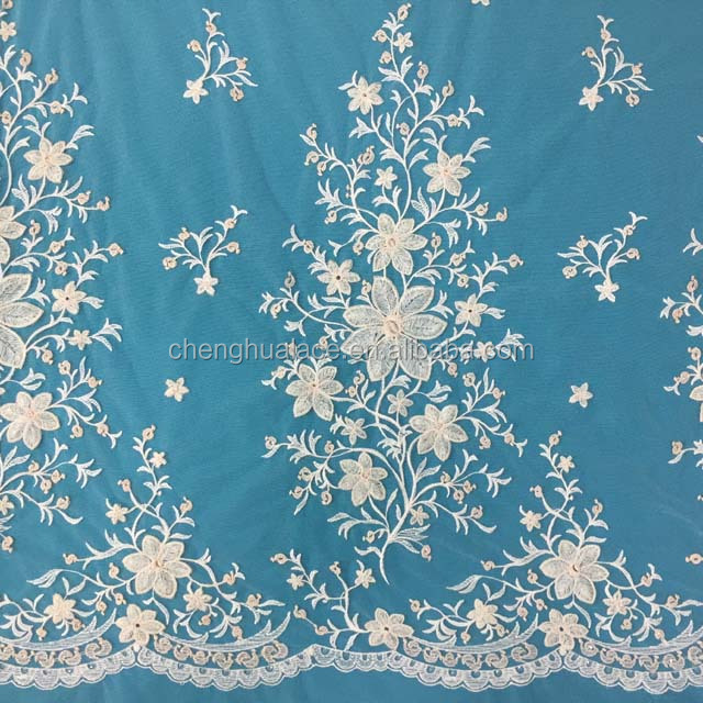 Popular Embroidery Guipure weddingl Lace Tull Fabric