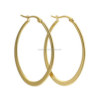 High Quality 18K Gold Plated Polishing Stainless Steel Oval Infinity Hoop Earrings