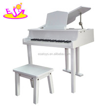2018 White color wooden toy piano for kids,educational wooden toy children toy piano,wooden baby piano toy for sale W07C018