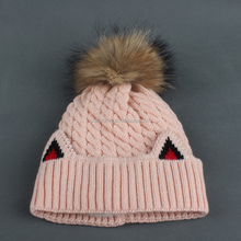 Wholesale Custom Pom Pom Free Animal Knit Hat Patterns Cat Ear Beanie Hat