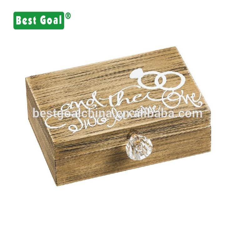 Wooden jewelry box - Mr. and Mrs. in love wooden ring holder jewelry box