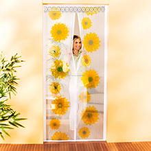 100% Polyester Sunflower Design Magnetic Mosquito Net Fly Screen Door Window Curtain