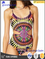 Fashion print sexy hollow out one piece swimwear.