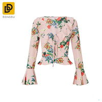 Hot selling product in alibaba pink sweet heart neckline floral print blouse for women
