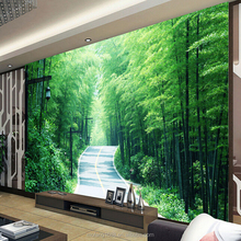 Calming yourself on the bamboo forest road theme mural 3d wallpaper for living room natural wallpaper bamboo road forest