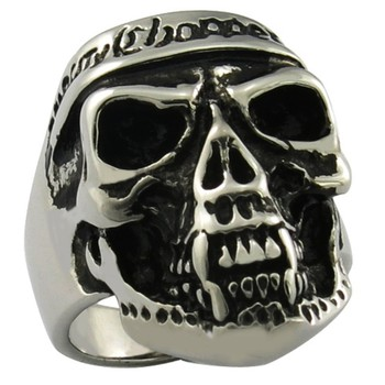 stainless steel biker jewelry onyx deep skull ring