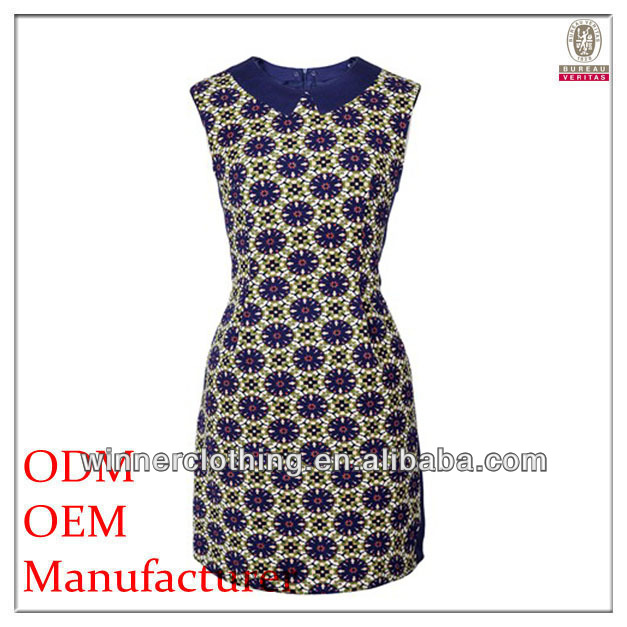 2014 latest fashion sleeveless flora printed wholesale plus size clothing with stand collar
