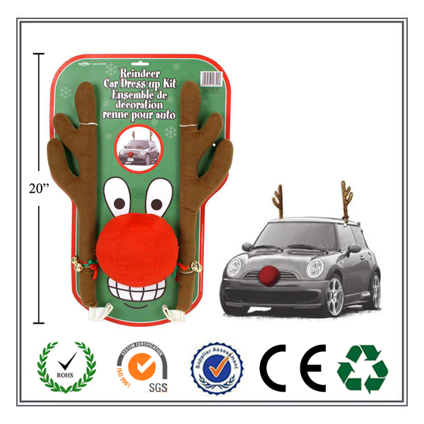 2016 Alibaba express hot selling Reindeer Antler and Red Nose Christmas Car Kit For Xmas Car Decoration