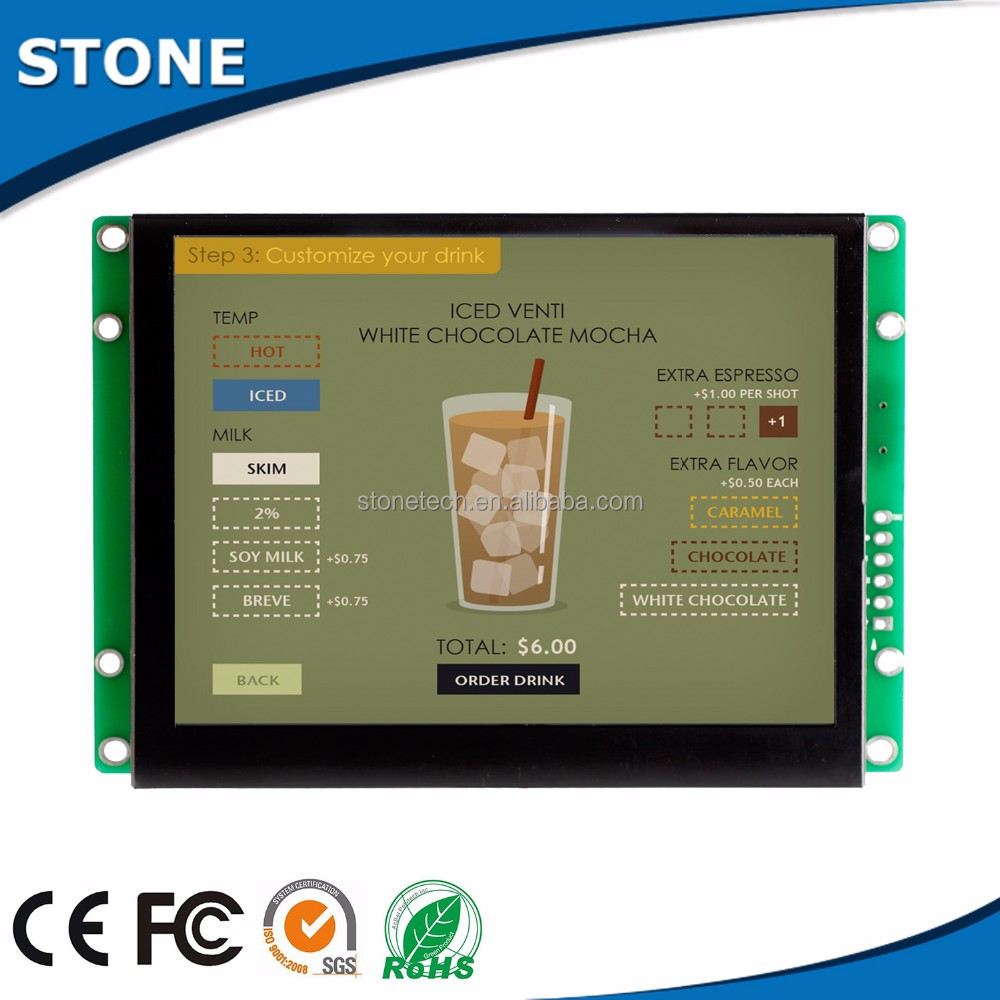 Stock products tft lcd programmable pcb board +touch display with RGB/CPU interface for outddor application
