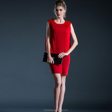 2015 new fashion korea casual red girl dress